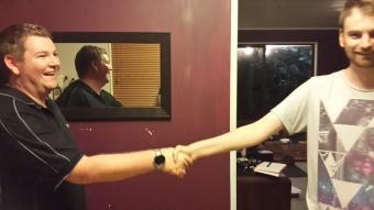 Jono congratulating James after Jono's first game. James won... Just.